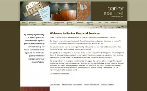 Parker Financial Services Website