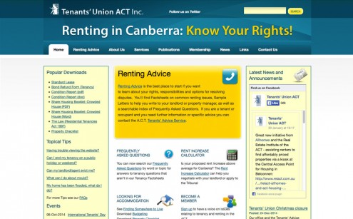 Tenants' ACT Website