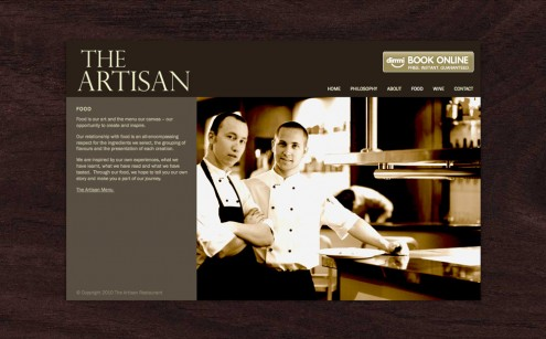 The Artisan Restaurant Website