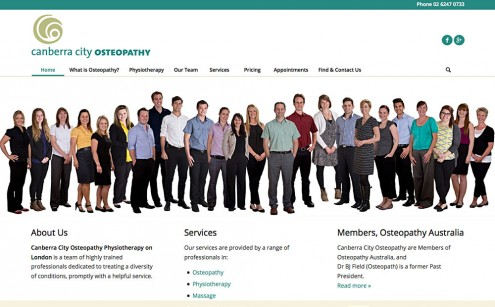 Canberra City Osteopathy Website